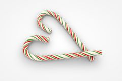 Christmas candy canes heart symbol. (3d illustration Royalty Free Stock Image