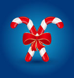 Christmas candy canes with red bow  Royalty Free Stock Photography