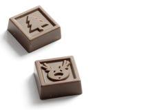 Christmas candy chocolates. With christmas tree and reindeer image Stock Photo