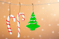 Christmas candy and christmas tree Royalty Free Stock Image