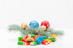 Christmas Candy. Colorful array of mixed candy with a festive seasonal background Royalty Free Stock Photography