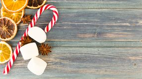 Christmas candy cone, dry orange slices, anise and marshmallow Stock Images