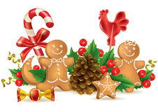 Christmas candy and decorations Royalty Free Stock Photo