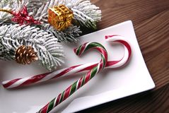 Christmas candy and decorations Royalty Free Stock Images
