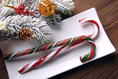 Christmas candy and decorations Royalty Free Stock Image