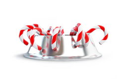 Christmas candy dog dish. On a white background Stock Image