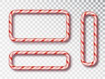 Christmas Candy Frame isolated set. Blank Christmas design, realistic red and white twisted cord frame. New Year 2019. Holiday design, decor. Vector vector illustration