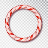 Christmas Candy Frame round isolated . Blank Christmas design, realistic red and white twisted cord frame. New Year 2019. Christmas Candy Frame isolated . Blank royalty free illustration