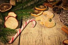 Christmas candy frame on a table Stock Photos