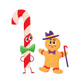 Christmas candy and gingerbread funny character, cartoon vector illustration  on white background Stock Photo