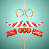 Christmas candy mustache vector illustration. Royalty Free Stock Photo