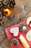 Christmas candy with pinecone in punnet Stock Photos