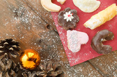 Christmas candy with pinecone in punnet Stock Photo