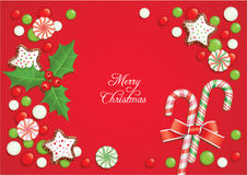 Christmas candy postcard Stock Photography