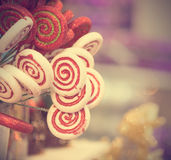 Christmas candy in retro vintage filter Royalty Free Stock Image