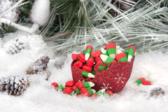 Christmas candy in sleigh Stock Image