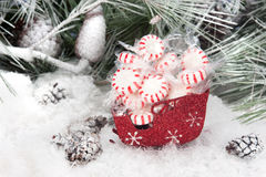 Christmas candy in sleigh Royalty Free Stock Photography