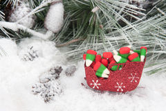 Christmas candy in sleigh Royalty Free Stock Photos