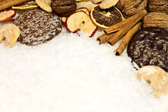 Christmas candy in snow Stock Photography