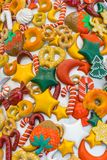 Christmas candy , snow , lollipop and colors stock image