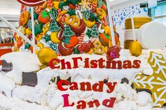 Colorful Christmas candy Land , snow , lollipop and colors stock photo