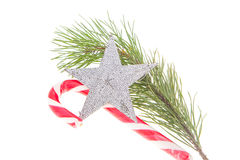 Christmas candy and star on white background Stock Photo