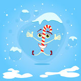Christmas Candy Stick Happy Smile Excited Jump Royalty Free Stock Photos