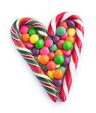 Christmas candy striped heart Stock Photo