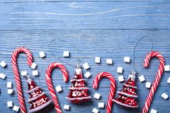 Christmas candy and treats on the table. Sweet gifts for childre. Christmas candy and treats on the table Royalty Free Stock Images