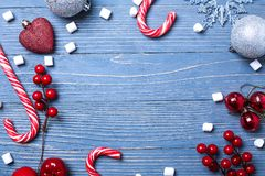 Christmas candy and treats on the table. Sweet gifts for childre. Christmas candy and treats on the table Stock Image