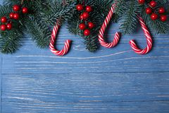 Christmas candy and treats on the table. Sweet gifts for childre. Christmas candy and treats on the table Royalty Free Stock Photos