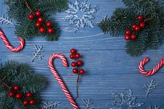 Christmas candy and treats on the table. Sweet gifts for childre. Christmas candy and treats on the table Stock Images
