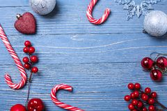 Christmas candy and treats on the table. Sweet gifts for childre. Christmas candy and treats on the table Royalty Free Stock Photo