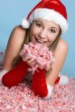 Christmas Candy Woman Stock Photos