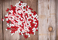 Christmas candy on wooden background Stock Image