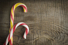 Christmas candy. On a wooden background stock photos