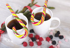 Christmas cane and coffee Royalty Free Stock Images