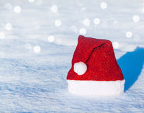 Christmas cap with bubo Royalty Free Stock Photos