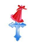 Christmas cap on cross Royalty Free Stock Image