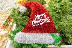 Christmas cap with Merry Christmas. Written Stock Photo