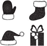 Christmas cap, socks, gloves and gift Royalty Free Stock Photography
