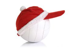 Christmas cap on white ball Royalty Free Stock Images