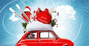 Christmas car. Santa Claus with gift bag royalty free stock image