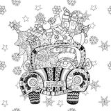 Christmas car gift doodle zentangle vector. Royalty Free Stock Images