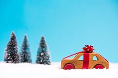 Christmas car sale or delivery concept stock image