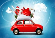 Christmas car. Santa Claus with gift bag royalty free stock photo