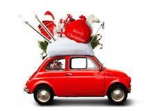 Christmas car. Santa Claus with gift bag Royalty Free Stock Photography