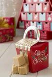 Christmas Caramel Fudge Gift Stock Photo