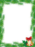 Christmas card. Illustration of christmas card with pine branches holly and bell Royalty Free Stock Photography