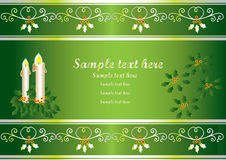 Christmas card. Or decorative banner with scrolls stock illustration